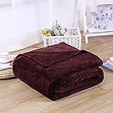 RedSonics - Home textile flannel Blanket pink plaid super warm soft blankets throw on Sofa/Bed/Plane Travel patchwork solid Bedspread [ 200230CM Brown ]