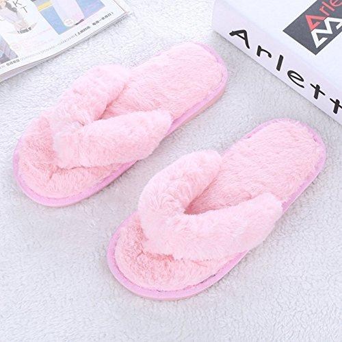 Winzik Women Girls Flip Flops Slippers Soft Plush Anti-Slip Soles Autumn Winter Home Indoor Shoes Pink UUsq2HYRBL
