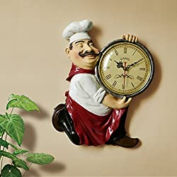 Wall clock Creative European Style Retro Chef Kitchen Restaurant Wall Clocks Clock Art Decoration Personality Walls Quartz Clocks