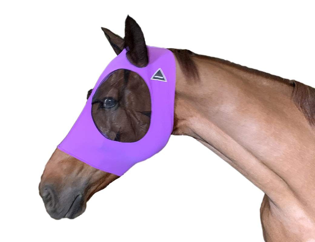 TGW RIDING Extra Comfort Lycra Grip Soft Mesh Horse Fly Mask with Ears (M, Dk Purple) by TGW RIDING