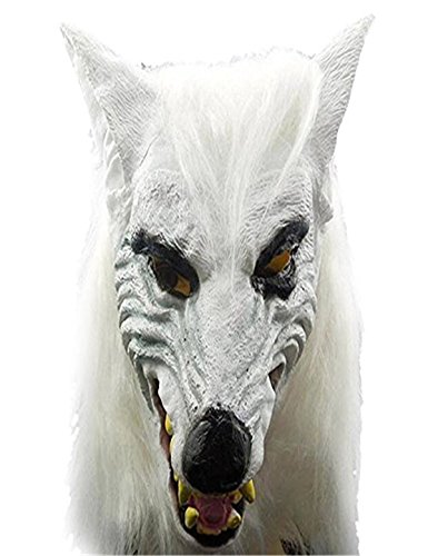Animal Wolf Head with Hair Mask Fancy Dress Costume Party Scary Halloween Party -
