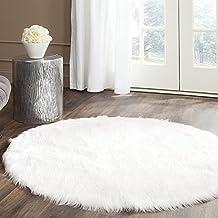 Pinkday Faux Sheepskin Area Rug White Round Area Rug Fake Sheepskin Carpet (5' Diameter)