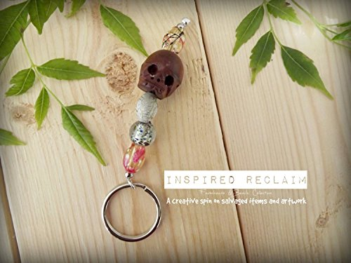 HANDMADE Original Key chain Jamaican Keychain Skeleton Face Wood Glass Beads Beaded Wooden Silver Charm Bohemian Gift Haitian Voodoo Witch Witchcraft Wiccan -