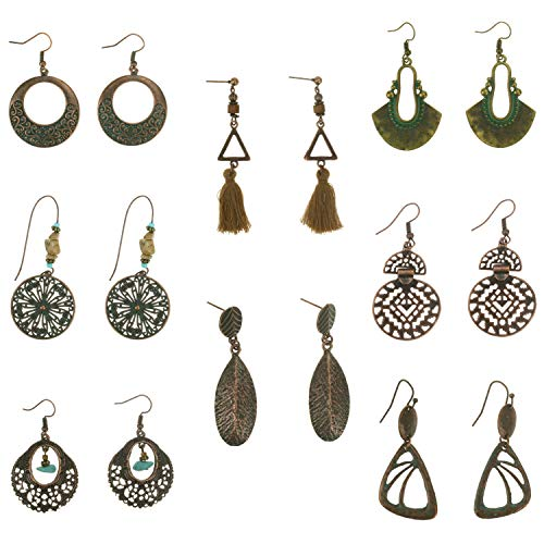(Coolcoco Fashion Metal Vintage Earrings Set with Dangle Pendant for Women Lady Girls Prime (8)