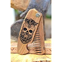 Beard comb wood by Enjoy The Wood - moustache comb - Anti-Static Wooden Folding Comb for Men with Sugar skull. Great with beard Balm and oil Fathers Day Gift Idea Grooming kit Pocket size Gift for men