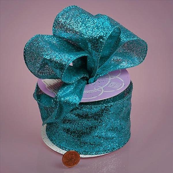 """AQUA TURQUOISE Blue Shiny Sparkle WIRE EDGED RIBBON 2-1//2/"""" x 5 Yards"""