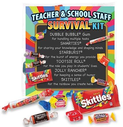 Teacher Appreciation & School Staff Survival Kits (6 per Set) Fun Candy Treat Goody Bag Gift Kit Idea for Teacher Appreciation Week