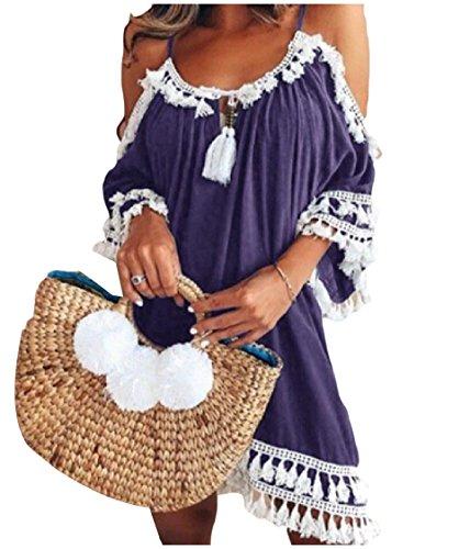 Short Pure Out High Neck Coolred Off Color Shoulder Women Dress Fringe Cut Purple Ugnvxq