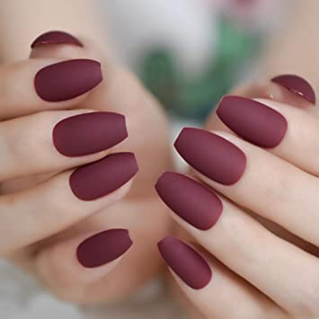 Amazon.com : Matte Ballerina Nail Art Tips Burgundy Blue Black Green False Coffin Nails Soft Nude Pink Grey Flat Shape Manicure Fake Nail burgundy red : ...