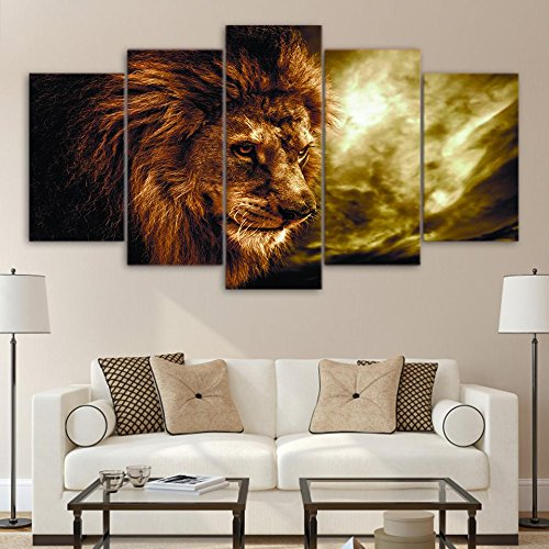 [Medium] Premium Quality Canvas Printed Wall Art Poster 5 Pieces / 5 Pannel Wall Decor The Lion King Painting, Home Decor Pictures - With Wooden - Wood Poster King Size