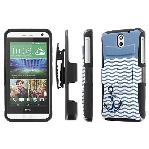 HTC Desire 610 Case, [NakedShield] [Black/Black] Heavy Duty Holster Armor Tough Case - [Nautical Anchor - Teal] for HTC Desire - 610 For Cases Htc Teal Desire