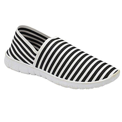 Slip Pumps Plimsoll White Canvas Memory Foam Espadrille Elastic Athletic Ladies Stripe Striped Black Trueboy Walking On Trainer CpSqztw4
