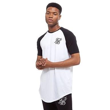 cb88488e Sik Silk Men's Curved Hem Tee T-Shirt, White (White/Black), X-Large ...