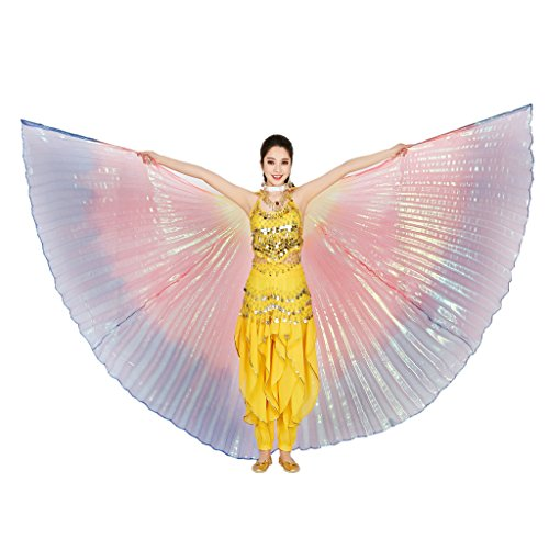 MUNAFIE Belly Dance Isis Wings with Sticks for Adult Belly Dance Costume Angel Wings for Halloween Carnival Performance Rainbow