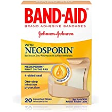 Band-Aid Brand Adhesive Bandages Plus Antibiotic Ointment, Assorted Sizes, 20 Count