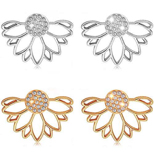 - Suyi Fashion Hollow Lotus Flower Earrings Crystal Simple Chic Stud Earrings Set AGS
