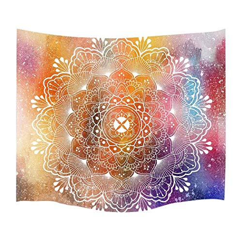 Simsant Lotus Flower Tapestry Colours Psychedelic Wall Hanging Colorful Modern Art Wall Blanket (Multicolor,60x60inches (152.4x152.4CM) SILX029