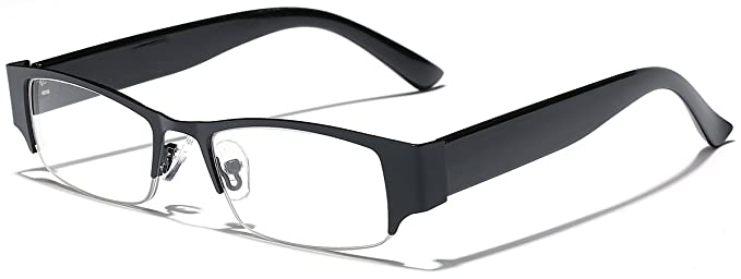 a18d24f87a Amazon.com  Rectangular Clear Lens Semi Rimless Women s Glasses ...