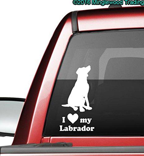 Labrador Chocolate Sticker (Minglewood Trading I Love My Labrador vinyl decal sticker 7.5