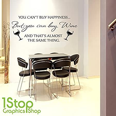 1stop graphics shop wine happiness wall sticker quote home