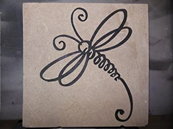 Sandblast Engraved Natural Decorative Stepping Stone Curly Dragonfly