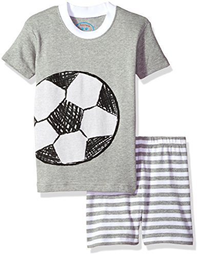 Ball Short Pajamas - Sara's Prints Big Kids All Cotton Fitted Short Pajama Set, Soccer-Shga, 10