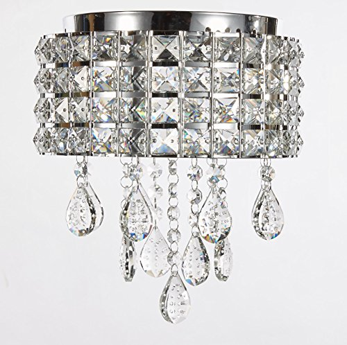 New Galaxy Modern LED Crystal Chandelier Chrome Metal Shade Flushmount Ceiling Lighting Fixture, #808