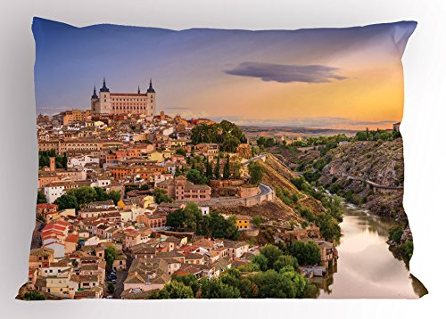 Ambesonne Wanderlust Pillow Sham, Toledo Spain Old City Over The Tagus River Downtown Castle Architecture, Decorative Standard King Size Printed Pillowcase, 36 X 20 Inches, Apricot Cream Green by Ambesonne