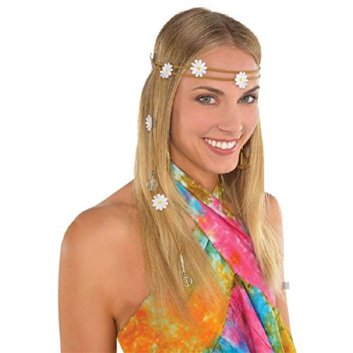 Seventies Fancy Dress (Hippie Headband Adult 60s 70s Girl Costume Halloween Fancy Dress)