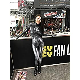 - 515Gs P1SpL - Black Cat Cosplay Costume | Symbiote Black Cat Suit | Spider-Man Costume | Black Cat Suit