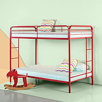 Zinus Easy Assembly Quick Lock Metal Bunk Bed Dual Ladders, Twin Over Twin
