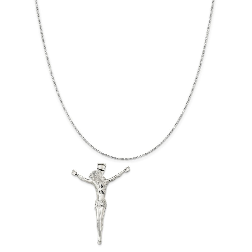 Sterling Silver Polished Corpus Pendant on a Sterling Silver Cable Snake or Ball Chain Necklace