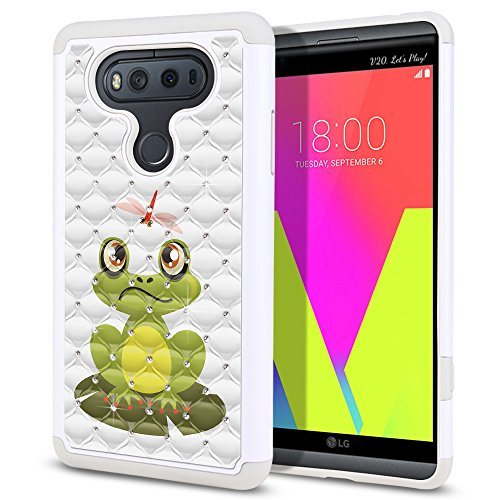 (FINCIBO Case Compatible with LG V20 VS995 H990 LS997 H910 H918 US996, Dual Layer Shock Proof Hybrid Protector Case Cover TPU Sparkle Rhinestone Bling for LG V20 - Frog and Dragonfly)