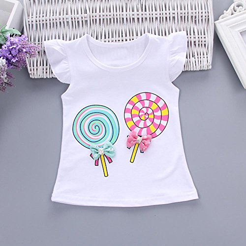 Younger Tree 2PCS Toddler Kids Baby Girls Outfits T-Shirt Tops+Short Pants Set (White, 12-18 Months)