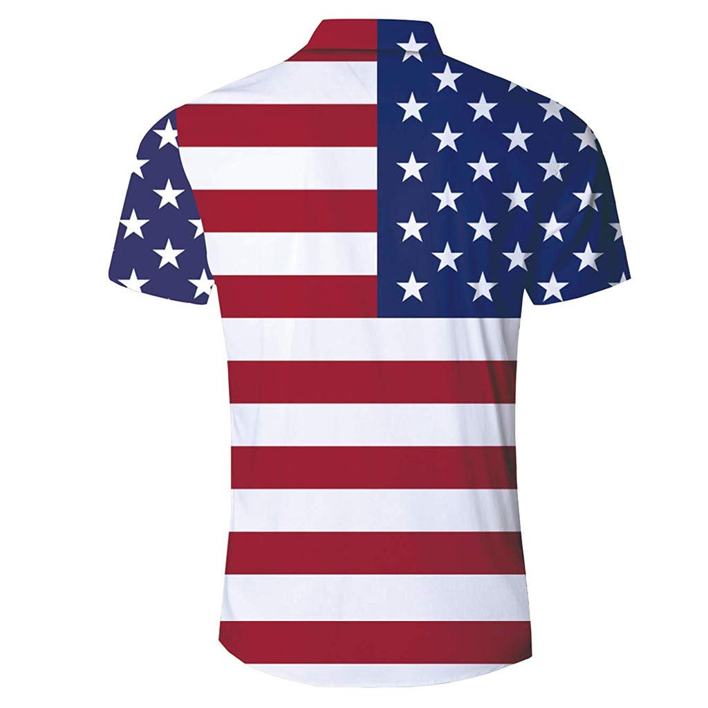 STORTO mens American Flag Printed Tops Independence Day Short Sleeve Button Down Shirts