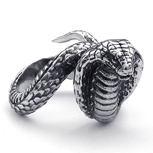 TEMEGO Jewelry Mens Stainless Steel Ring, Gothic Cobra Band, Black Silver (Cobra Ring)