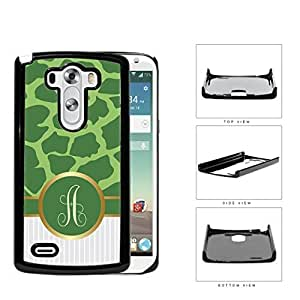 Customized Dark and Light Green Giraffe Animal Print Pattern and White Gray Vertical Stripes on Bottom with Green Monogram in Center Outlined in Gold Hard Plastic Snap On Cell Phone Case LG G3