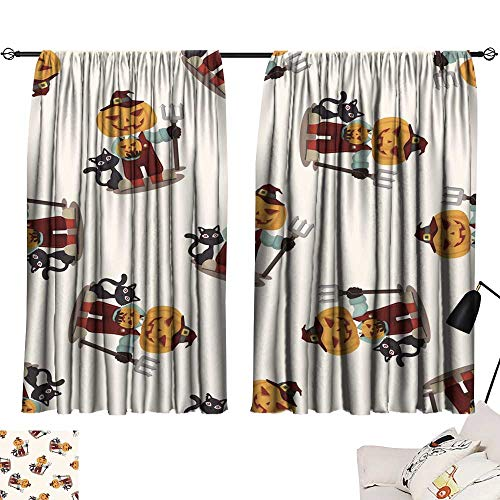 SINXY&CASE Thermal Insulated Blackout Curtains Halloween Party Costume Seamless Pattern 72