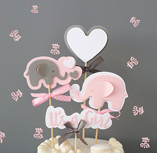 Pink Elephant Cake Topper It's a Girl Heart Pink Confetti Pink Elephant Themed Cupcake Picks for Kids Birthday Baby Shower Decorations Supplies ()