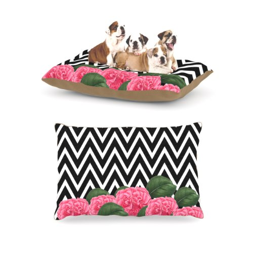 kess-inhouse-suzanne-carter-camellia-chevron-flower-fleece-dog-bed-30-by-40-inch