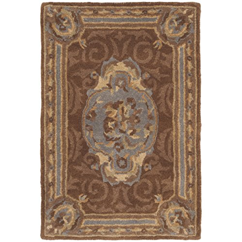 Safavieh Empire Collection EM409A Handmade Traditional European Blue and Brown Premium Wool Area Rug (2' x 3')