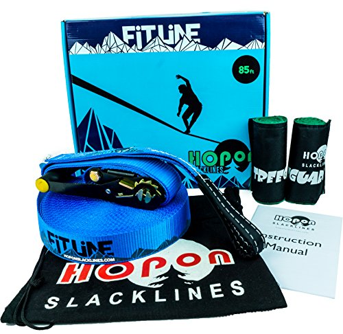 HopOn Slacklines 85ft Fitline Slackline Kit For Beginners with Ratchet and Tree Protection - Blue