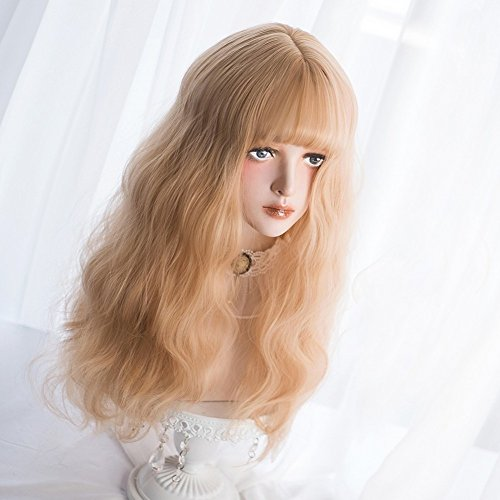 Long Wavy Blonde Wig Bangs - Natural Synthetic Hair Lolita Wigs with Wig Cap  For White 9a40c2c9cbe3