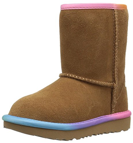 UGG Girls T Classic Short II Rainbow Pull-On Boot, Chestnut, 11 M US Little Kid (Chestnut Kids Classic Ugg)