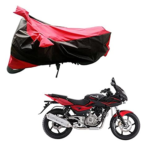 Adroitz Bike Body Cover For Bajaj Pulsar 220 Dts I Black And Red