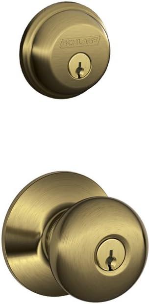 Schlage FB50N V PLY 609 B60 Single Cylinder Deadbolt and F51 Keyed Entry Plymouth Knob Keyed Alike, Antique Brass finish