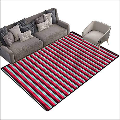 Floor Mats Modern Kitchen Rug Striped,Vertical Lines Retro Colors 64