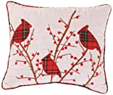 Holiday Cardinal and Holly Corded Accent Pillow, 12-Inch by 14-Inch