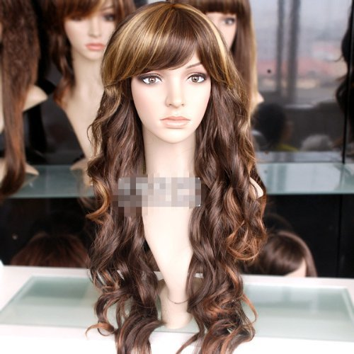 Mzcurse Brown Mixed Blonde Wavy Curly Woman Cosplay Long Party Hair Wig (Curly Blonde Costume Wig)