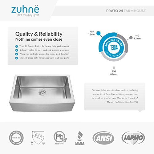 Zuhne 24 Inch Farmhouse Apron Deep Single Bowl 16 Gauge Stainless Steel Luxury Kitchen Sink by Zuhne (Image #2)